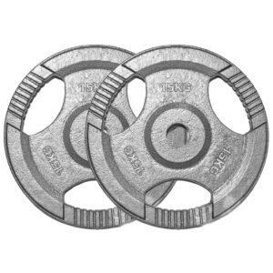 Standard Cast Iron Weight Plates Pair (15KG x 2)-0